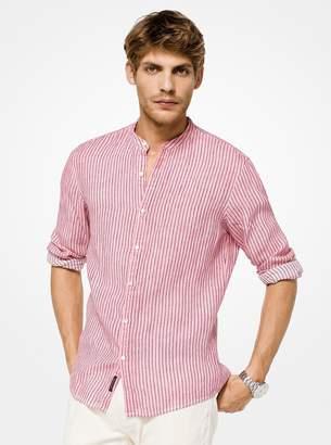 Michael Kors Slim-Fit Striped Linen Shirt