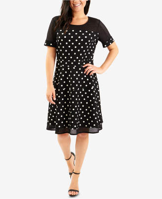 NY Collection Petite Printed Illusion Fit & Flare Dress