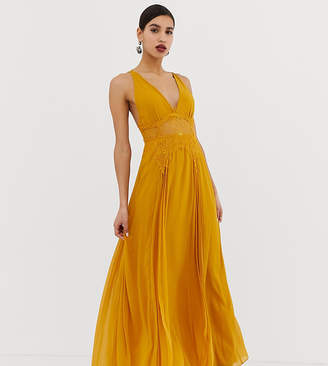 c7d962fc12 Asos Design DESIGN cami maxi dress in crinkle chiffon with lace waist and  strappy back detail