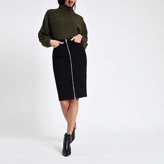 80ed8d4bca River Island Black zip through denim pencil skirt