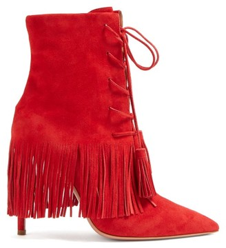 Aquazzura Mustang 105 Fringed Ankle Boots - Womens - Red