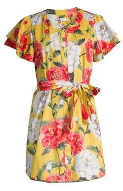 Parker Nate Floral Flutter-Sleeve Shirtdress