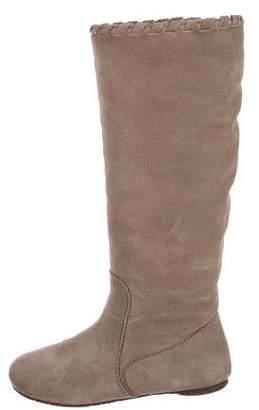 Pedro Garcia Shearling-Trimmed Knee Boots