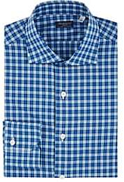 Finamore Men's Checked Cotton Poplin Shirt - Navy