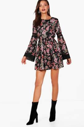 boohoo Tall Lace Insert Woven Floral Skater Dress