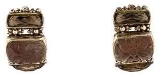 Stephen Dweck Carved Quartz Doublet & Smoky Quartz Clip-On Earrings