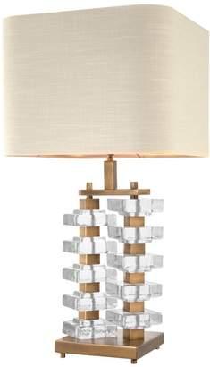 Eichholtz Toscana Table Lamp Natural Linen Shade Vintage Brass Finish