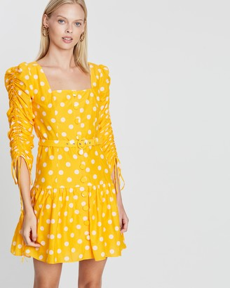 Nicholas Ruched Sleeve Button Front Mini Dress