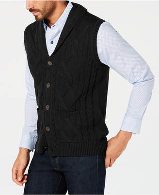 Tasso Elba Men's Shawl Collar Cable Knit Sweater Vest, Created for Macy's