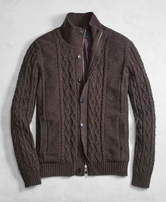 Brooks Brothers Golden Fleece 3-D Knit Cashmere Blend Full-Zip Sweater with Lining