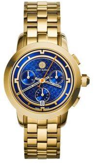 Tory BurchTory Burch Tory Chronograph Goldtone Stainless Steel Bracelet Watch/Blue