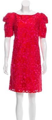 Marchesa Silk Embroidered Shift Dress