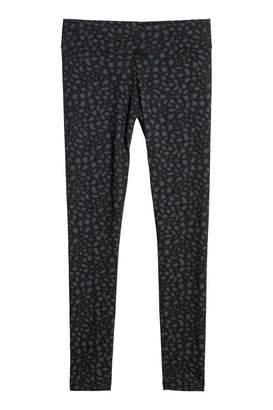 H&M Jersey Leggings - Black/leopard print - Women
