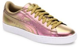 PUMA Basket Holographic Leather Sneakers $80 thestylecure.com