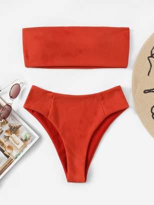 Shein Ribbed Bandeau With High Cut Bikini Set