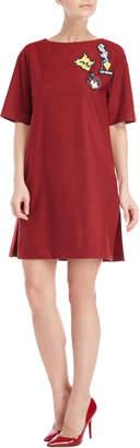 Love Moschino Dark Red Patch A-Line Dress