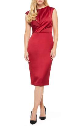 Maggy London Crossover Bodice Satin Midi Dress