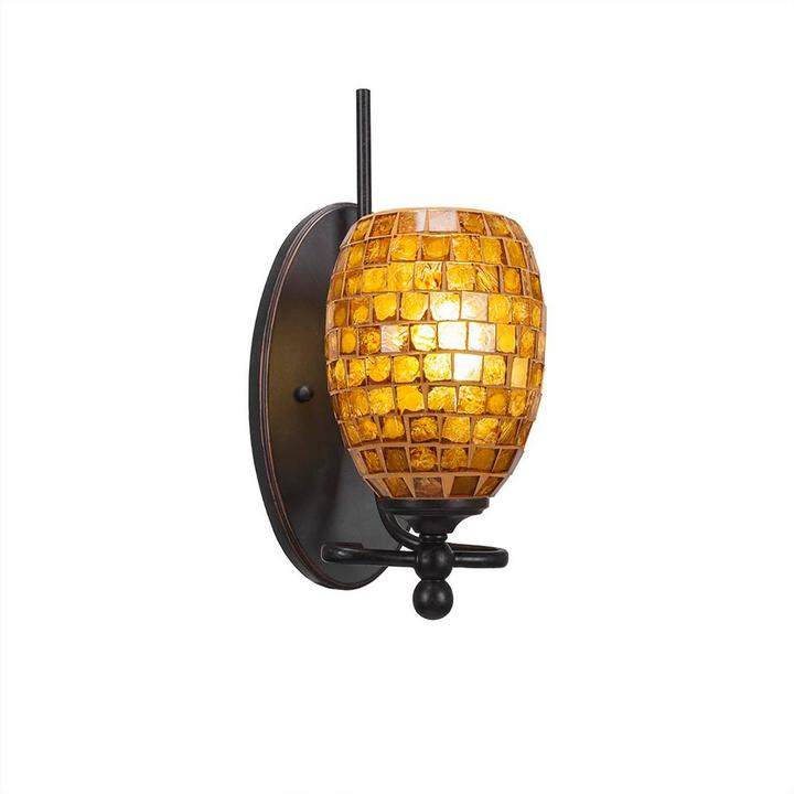 Cambridge Silversmiths Cambridge 1-Light Dark Granite Sconce with Copper Cracked Glass