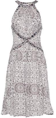 L'Agence Clio Ruched Printed Silk Dress