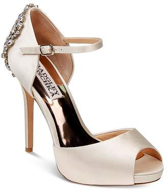 Badgley Mischka Dawn Embellished Satin Ankle Strap High-Heel Pumps