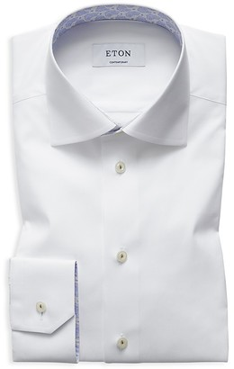 Eton Solid with Floral Pines Internal Trims Regular Fit Dress Shirt $265 thestylecure.com