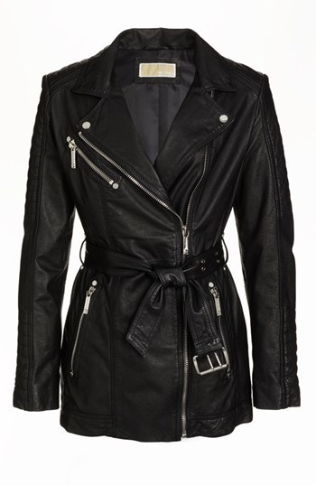 MICHAEL Michael Kors Belted Leather Moto Jacket