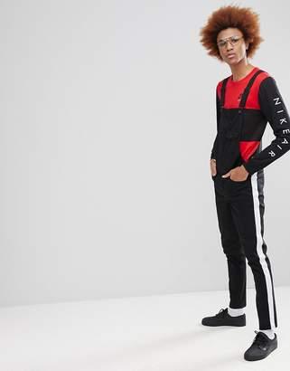 Asos DESIGN Skinny Overalls With White Side Stripe In Black