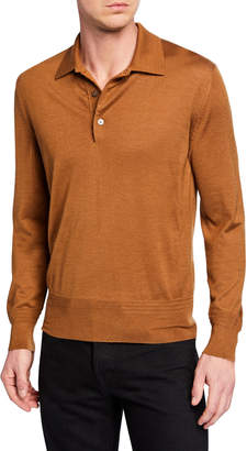 Tom Ford Men's Long-Sleeve Cashmere-Silk Polo Shirt