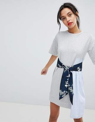 French Connection T-Shirt Dress With Floral Tie