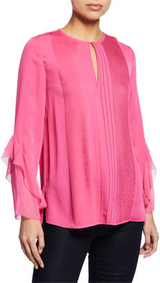 Elie Tahari Karin Crewneck Long-Sleeve Pintucked Blouse