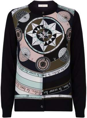 Tory Burch Wool-Silk Printed Cardigan