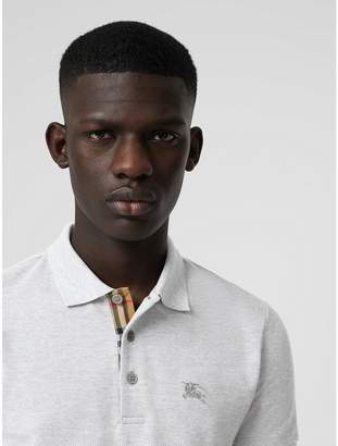 Burberry Check Placket Cotton Polo Shirt