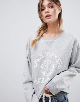 Abercrombie & Fitch Varsity Logo Crew Neck Sweatshirt