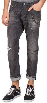 The Kooples Short Drop Slim Fit Jeans in Black