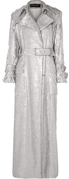 Sequined Crepe Trench Coat - Silver