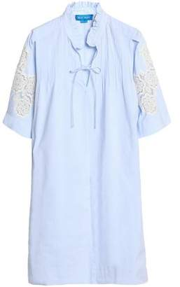 MiH Jeans Langley Crochet-Trimmed Pinstriped Cotton-Poplin Shirt Dress