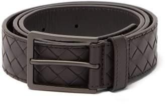 Bottega Veneta Intrecciato Leather Belt - Mens - Dark Brown