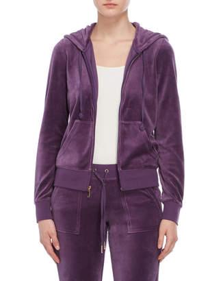 Juicy Couture Rhinestone Logo Back Velour Zip Hoodie