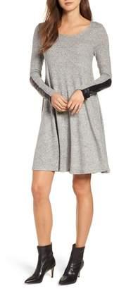 Karen Kane Faux Leather Detail Swing Dress