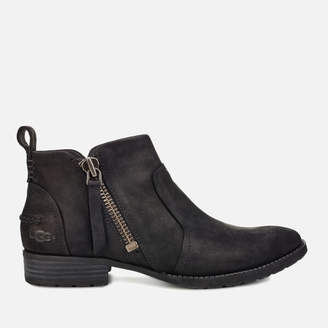 UGG Women's Aureo Full Grain Leather Flat Ankle Boots - Black