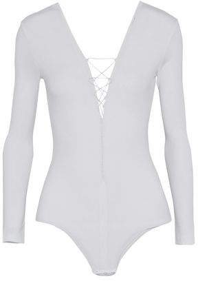 Alexander Wang Lace-Up Stretch-Modal Jersey Bodysuit
