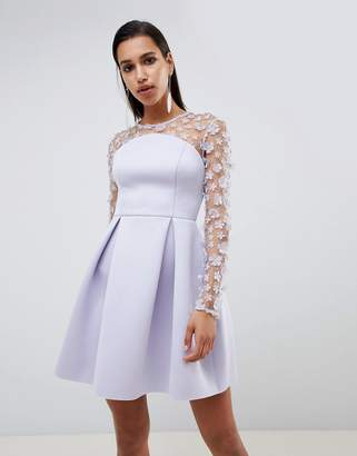 Asos DESIGN 3D floral lace bandeau scuba prom mini dress