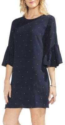 Vince Camuto Sapphire Bloom Ruffle-Trimmed Shift Dress
