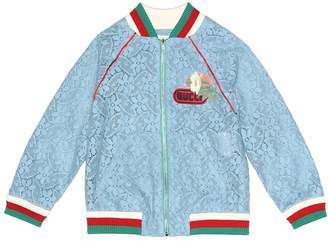 Gucci Kids Appliqued lace bomber jacket