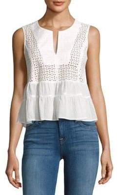 BCBGMAXAZRIA Ruffled Cotton Crop Top