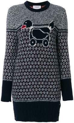 Thom Browne Pullover Dress With Duck Toy Icon In Mohair Tweed