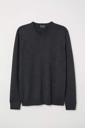 H&M V-neck Merino Wool Sweater - Gray