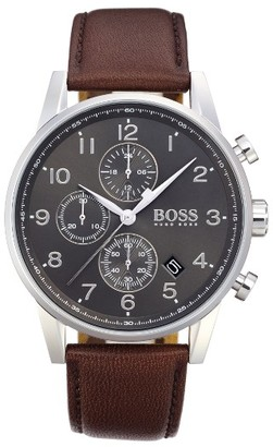 Boss Navigator Chronograph Leather Strap Watch, 44Mm $295 thestylecure.com