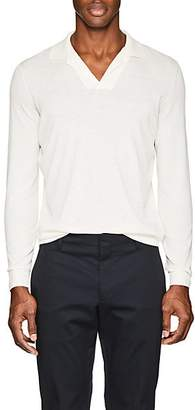 Loro Piana MEN'S KNIT COTTON POLO SHIRT - WHITE SIZE XL