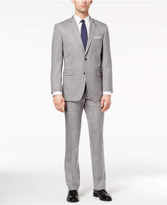 Perry Ellis Men's Slim-Fit Stretch Gray Mini-Windowpane Suit